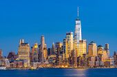 Aerial view of New York city Manhattan skyline cityscape at dusk from New Jersey.  poster