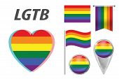 Set Of Lgbt Related Symbols In Rainbow Colors. Pride, Freedom Flags, Heart, Pointer, Button, Waving  poster