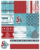 stock photo of eyeleteer  - Vector patchwork nautical patterns - JPG