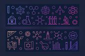 Set Of 2 Stem Education Vector Concept Colored Linear Banners With Dark Background poster