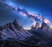 Bright Milky Way Over Mountains At Starry Night In Summer. Amazing Landscape With Alpine Mountains,  poster