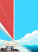 Sailing Ship Banner With Space For Text. Top View Sail Boat On Deep Blue Sea Water. Luxury Yacht Rac poster