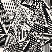 Abstract Black And White Seamless Pattern. Urban Art Texture With Chaotic Shapes, Triangles, Lines,  poster