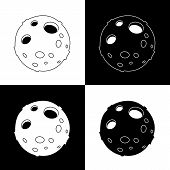 Cute Cartoon Flat Line Moon Icon Set. Funny Vector Black And White Moon Icon Set. Isolated Monochrom poster