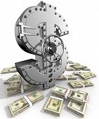 picture of bank vault  - Synthesis from dollar symbol and banking safe - JPG