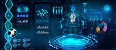 Medical Infographic Hud. Human Body And Organism Scannig ( Anatomy, Dna Formula, X-ray, Molecule And poster