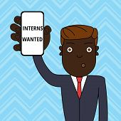 Handwriting Text Interns Wanted. Concept Meaning Looking For On The Job Trainee Part Time Working St poster