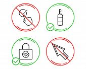 Do Or Stop. Password Encryption, Checkbox And Brandy Bottle Icons Simple Set. Mouse Cursor Sign. Pro poster