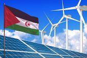 Western Sahara Solar And Wind Energy, Renewable Energy Concept With Windmills - Renewable Energy Aga poster