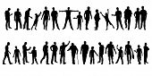 Collection Of Mens Silhouettes. Set Of Different Male Silhouettes Isolated On White Background. Vect poster