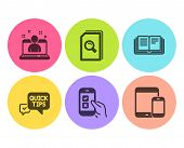 Best Manager, Education And Quick Tips Icons Simple Set. Mobile Survey, Search Files And Mobile Devi poster