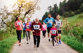 Large Group Of Multi Generation People Running A Race Competition In Nature. poster