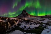 Northern Light, Aurora Borealis At Kirkjufell In Iceland. poster