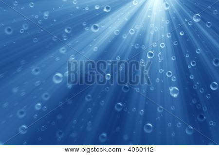 Deep Underwater With Bubbles. Clean Color