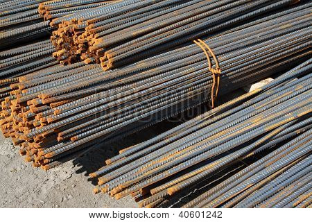 Steel Rebar In Pile Up