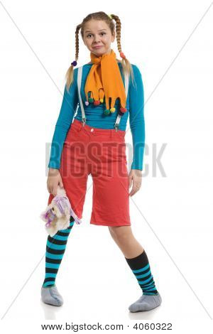 Girl In Multi-Coloured Clothes