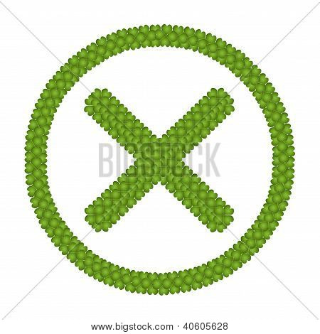 Four Leaf Clover Of No Sign In Circle Frame