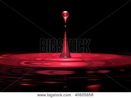 Red Droplet Of Liquid Close Up