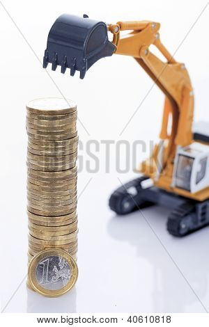 Euro Money Coins And Digger