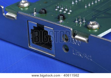 Ethernet network card concept of communication and internet