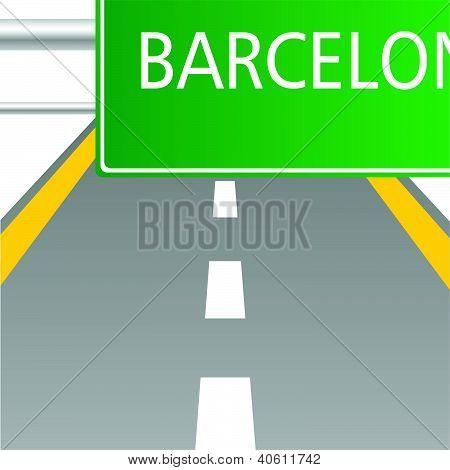 Highway To Barcelona Vector Illustartion