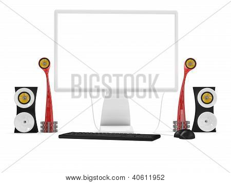 Desktop Computer With Keyboard, Mouse And Audio Speakers. 3D Model