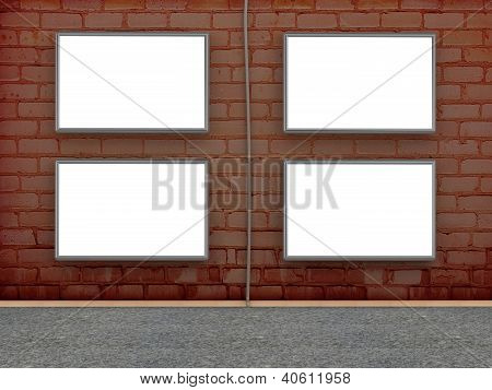 Brick Wall With Blank Billboard For Advertise. 3D Illustration