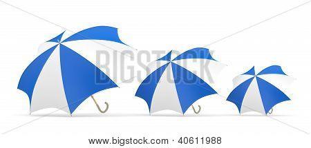 Umbrella. Three 3D Blue And White Models