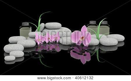 Spa Treatment Concept. Zen Stones, Orchid And Bottles Of Essential Oil
