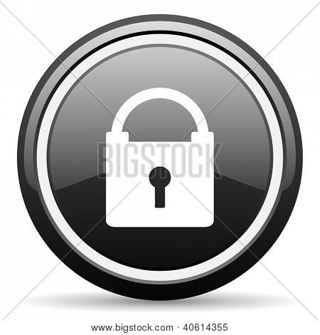 protect black glossy icon on white background