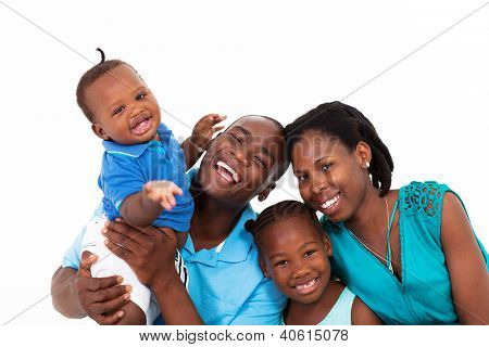 happy african family isolated on white