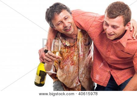 Drunken Men Partying With Alcohol