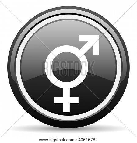 sex black glossy icon on white background