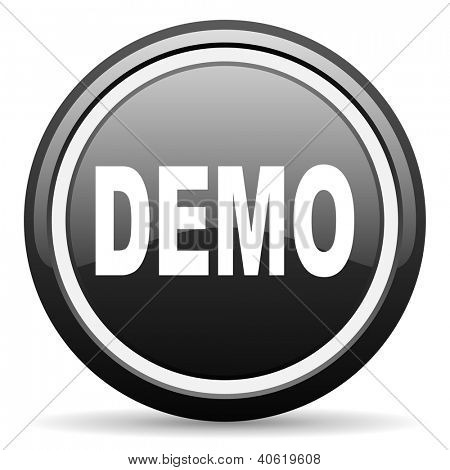 demo black glossy icon on white background