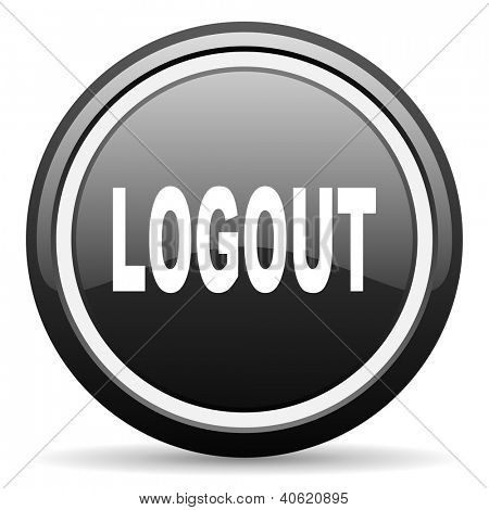 logout black glossy icon on white background