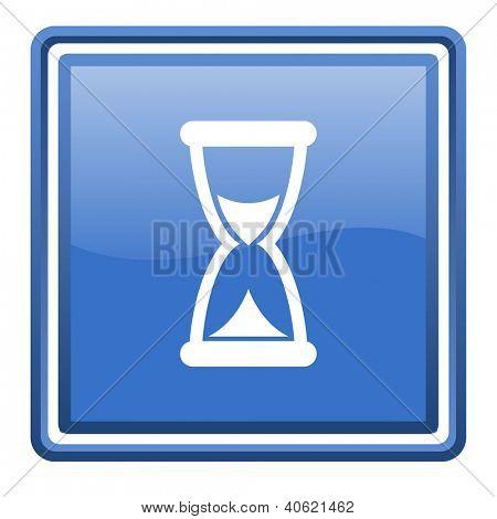 icono cuadrado brillante azul de la web de tiempo aislado