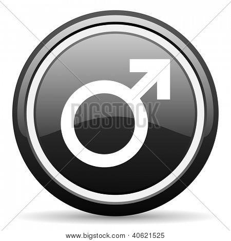 sex black glossy icon on white background