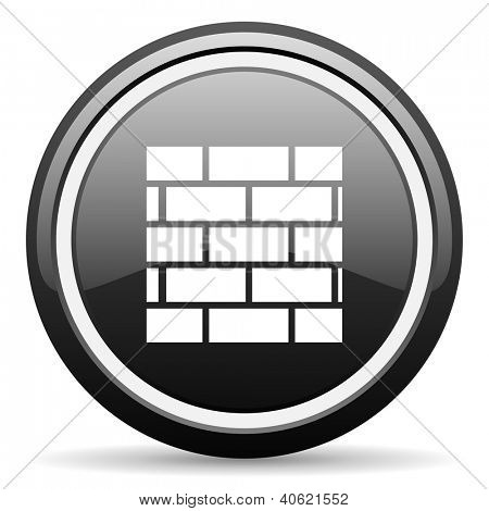 firewall black glossy icon on white background