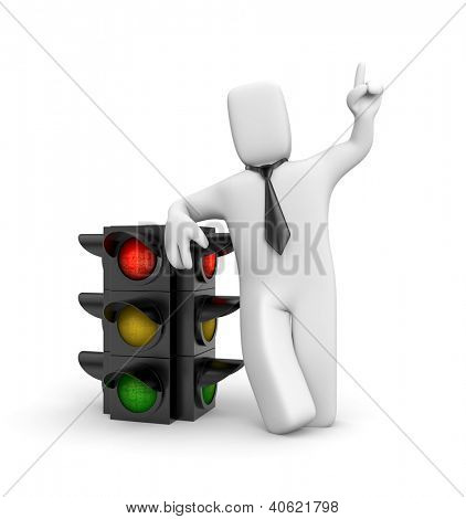 Businessman and traffic light. Red light