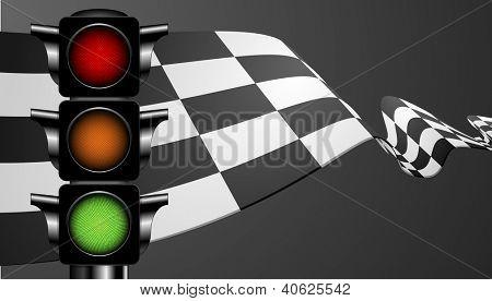gedetailleerde illustratie van een race-vlag met een groene verkeerslicht