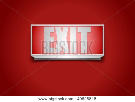 detailed illustration of a red exit sign