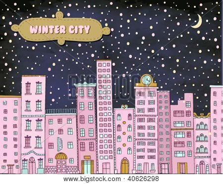 Winter City - Hand drawn cityscape against the snowy backdrop
