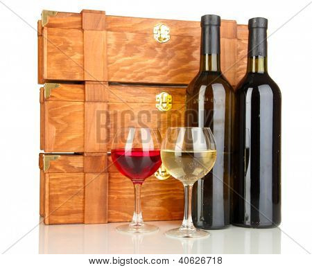 Wooden cases with wine bottles isolated on white