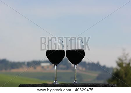 Two Red Wine Glasses Half Full Or Half Empty Overlooking Vineyard Sky
