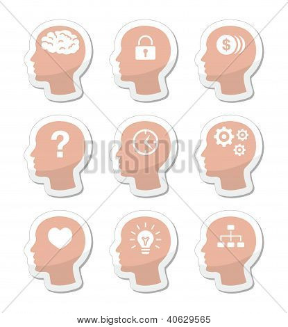 Head brain vector labels set