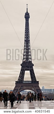 Eiffel Tower In A Cloudy Winter Day
