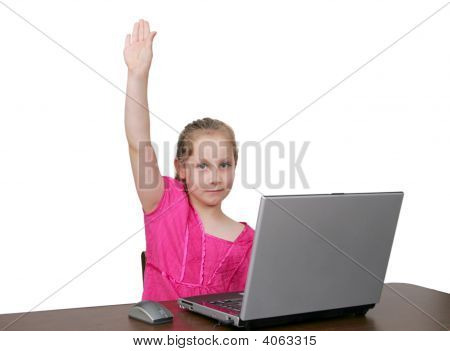 Young Girl At Computer Over White