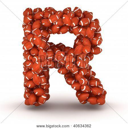Letter R, American Football Alphabet