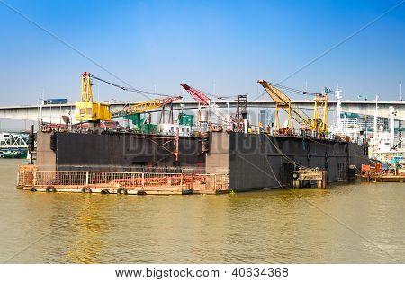 Cargo Crane At Shipyard In Bangkok