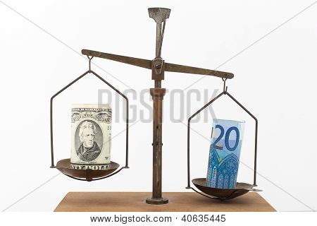 Euro And Us Dollar On A Scale
